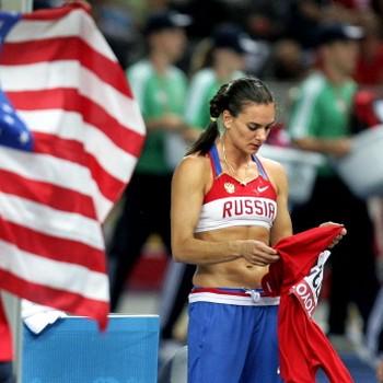 Tweevoudig olympische kampioene polsstokhoogspringen Jelena Isinbajeva. © ANP