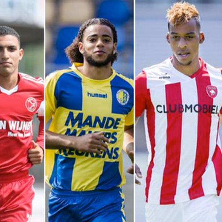 De vier voetballers. © De Telegraaf