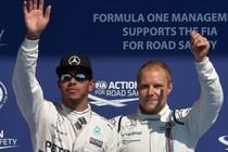 Lewis Hamilton en Valtteri Bottas. © AFP