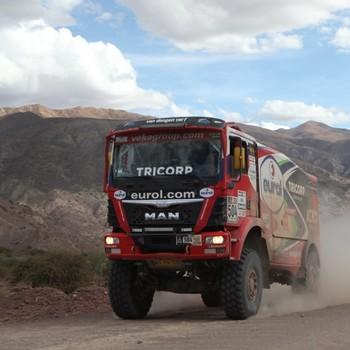 Hans Stacey in actie tijdens de Dakar Rally. © EPA